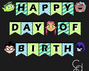 Happy Birthday Banner. Happy Day of birth Banner. Teen titans Go Banner. Teen Titans Birthday. Birthday Banner. Birthday Decor. Party Decor