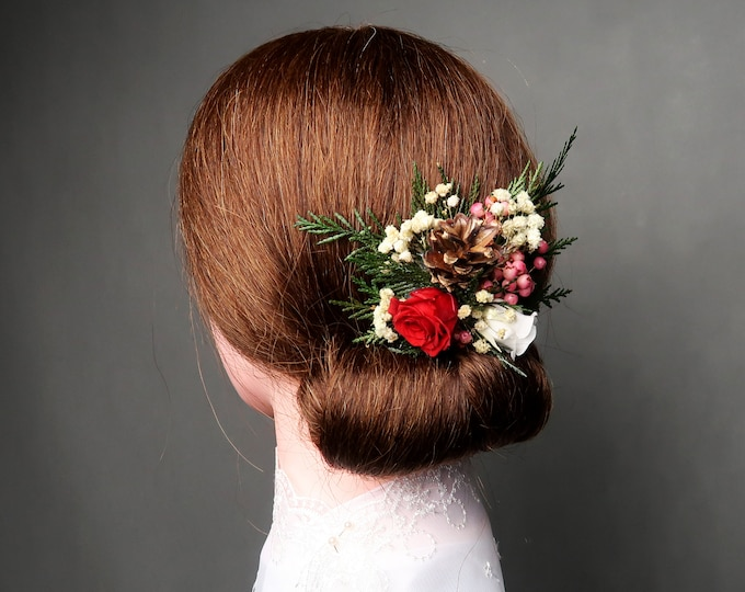 Red, white and green winter wedding hair comb
