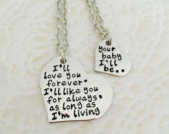 I love you forever I'll like you for always mom and daughter necklace
