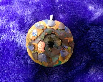 Dainty,hand-crafted polymer clay pendant dragon's eye w/ hand-painted glass cabochon. Copper, purple, green, pink Perfect for a young girl