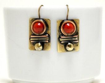 Copper & Brass Earrings Mixed Metal Earrings Red Earrings Dangle Drop Boho Earrings Bohemian Earrings Anniversary Gift For Women