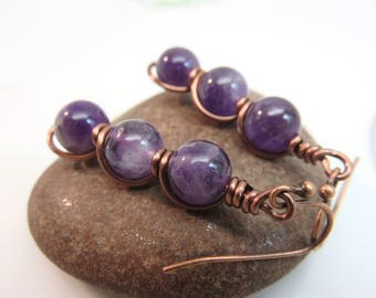 Amethyst earrings -  wire wrapped gemstone earrings - copper wire earrings - purple earrings - wire wrap earrings - amethyst jewelry