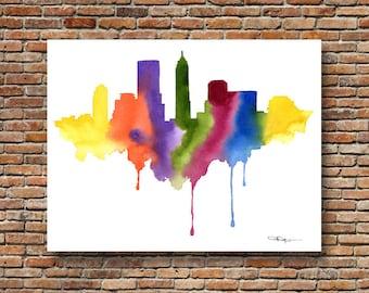 Indianapolis Skyline Art Print - Abstract Watercolor - Indiana Art Print - Wall Decor