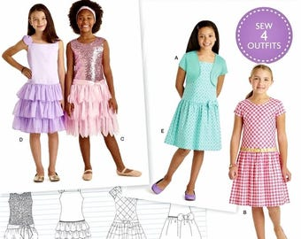 Sewng Pattern Child's American Girl Dress Pattern, Girls' Ruffle Dress Pattern, Sz 3 to 8, Simplicity Sewing Pattern 8349
