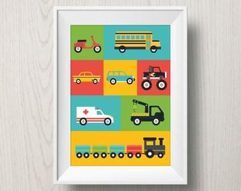 Cars nursery print | little boys' room poster, truck, scooter, bus, train, monstertruck, taxi, ambulance, auto, automobile, nursery wall art