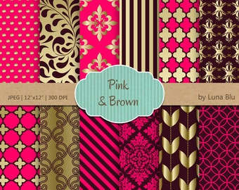 """Pink and Brown Digital Paper: """"Gold Pink and Brown Patterns""""  for invitations, scrapbooking, cardmaking, hot pink digital paper"""