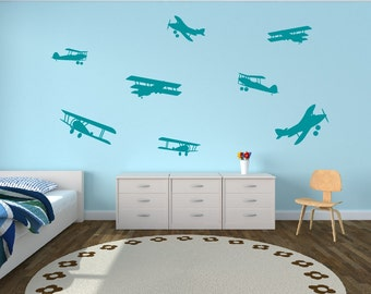 Airplane Decals Airplane Wall Decals - Childrens Room Decor Kids Room Teen Room Vinyl Wall Decal Airplanes