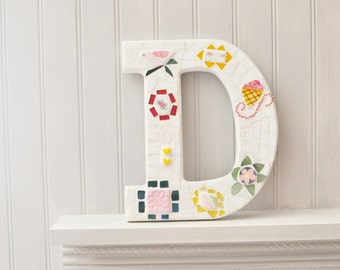 Mosaic - Personalized - Letter D - Nursery Decoration - Girl - Broken China - Recycled Plates -