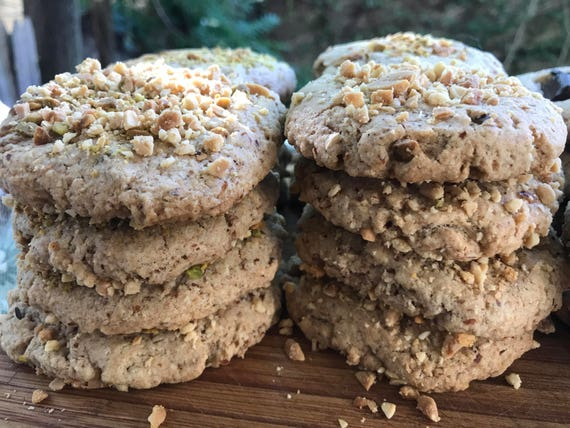 Vegan Peanut Almond  cookies 10 pieces! Spelt Flour, Pistachio and Almond Flours!