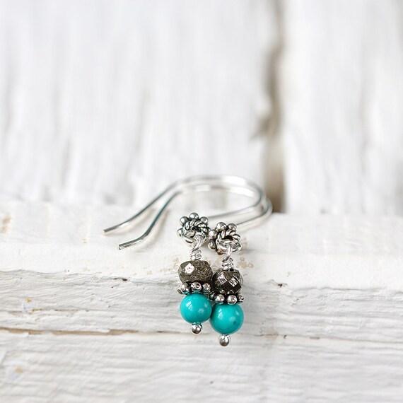 Silver Turquoise Earrings - Turquoise Drop Earrings
