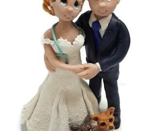 Custom wedding cake topper, personalized cake topper, Bride and groom cake topper, Mr and Mrs cake topper, Nurse cake topper