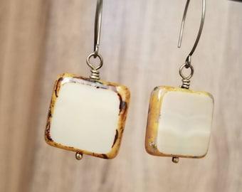 Antique Brass & Czech Ivory Drop Earrings
