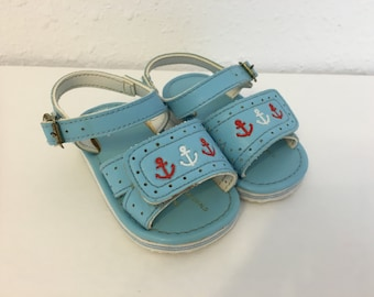 vintage baby sandals, blue baby shoes, boy baby shoes, baby anchor shoes, baby summer shoes, size 3