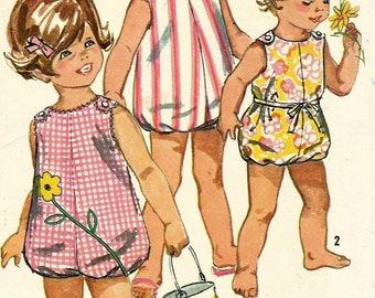 Vintage 60s Simplicity 6036 Toddler Shoulder Button Bubble Romper-Sunsuit with Applique Sewing Pattern