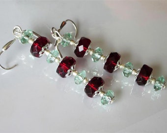 Red and Green Crystal Earrings, Dangle Earrings, Elegant Glass, Red Wedding, Silver Leverback, Holiday Drop