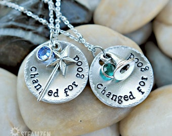 """Wicked the musical inspired """"Changed for good"""" Necklace with Swarovski Crystals - Actor Gift - Theater Gift - Bestfriends Gift - Unisex"""