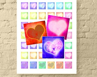 1 Inch Square Printable Digital Collage Sheet * Glowing Grunge Hearts for Jewelry, Scrapbooks & Crafts * Paper Goods * Instant Download!