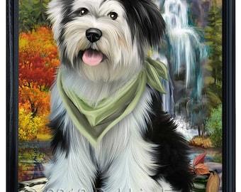 Scenic Waterfall Tibetan Terrier Dog Framed Canvas Print Wall Art