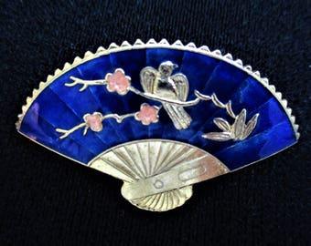 Cloisonne Fan Brooch Large Pin Blue Peach Enamel Gold Vintage Jewelry Gift for Women Cloisonne Pin Brooch Fan Dove Asian Fan Jewelry