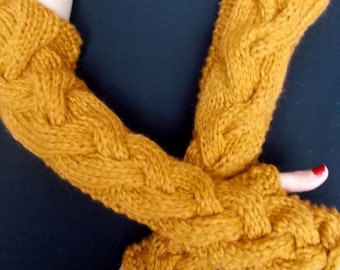 Fingerless Gloves Elbow Length Arm Warmers Mustard Brown Honey Extra Chunky Warm Long