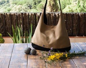 Beige canvas bag. Shoulder hobo bag. Beige hobo bag purse. Slouch shoulder bag. Beige and black handbag. Summer hobo bag
