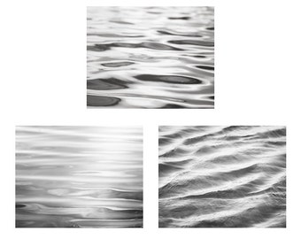 Black and White Photo Set - Three Water Photographs, abstract ocean ripples grey gray sea beach print set coastal wall art 11x14, 8x10, 5x7