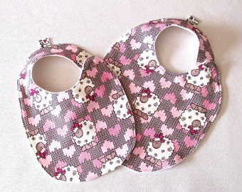 Little lambs Baby Bib , Baby Girl Bib, Pink Baby Shower Gift, Trendy Bib, Pink Bib, baby shower gift, absorbent soft cotton