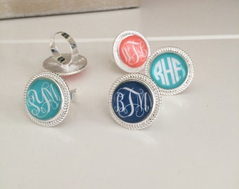 Personalized Adjustable Ring with Monogram - Choice of 42 Background Color Options - Custom Jewelry, Costume Jewelry, Gift