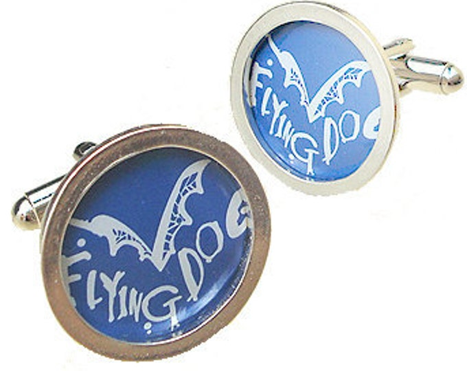 FLYING DOG Cuff Links of Bottle Cap / Sterling Silver cuff