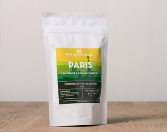 Paris Loose Leaf Tea Blend - Chocolate and Caramel Black Tea - Romantic Tea Gift - 100g bag