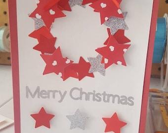 Handmade Christmas Greeting Card, Star Christmas Wreath,  Red and silver star Christmas Card,  Holiday Card