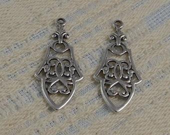 LuxeOrnaments Antique Silver Filigree Ornate Drop-Pendant (2 pcs) 36x16mm S-5346-S