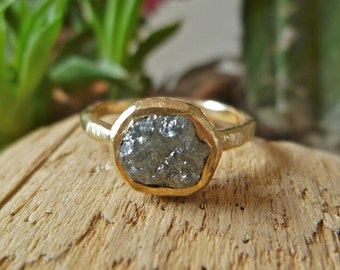 Handmade One of a Kind Organic 14K Yellow Gold Raw Natural Conflict Free Diamond Engagement Ring