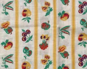 "12""Wx41""L Fruit N Veggie Novelty Feedsack Flour Sack Cotton Quilt Tea Towel Fabric"