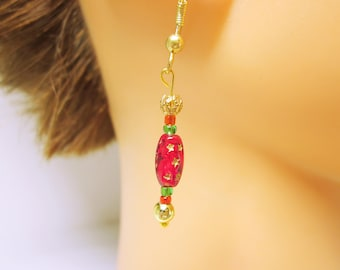 Red And Gold Star Christmas Holiday Dangles Red Bead Christmas Earrings CHRISTMAS JEWELRY  Gift Giving