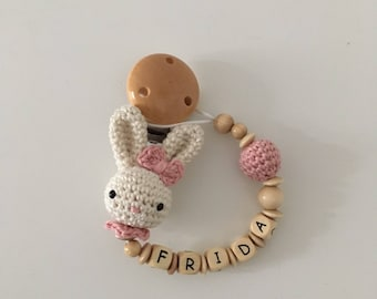 Pacifier with name Crochet Bunny