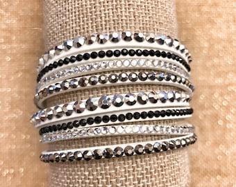 White Leather Sparkle Bracelet