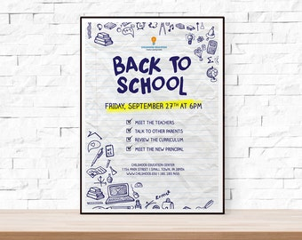 DIY Printable Back to School or Open House Event Flyer Template in PSD + DOCX for Church, School, Hand Drawn, Doodle