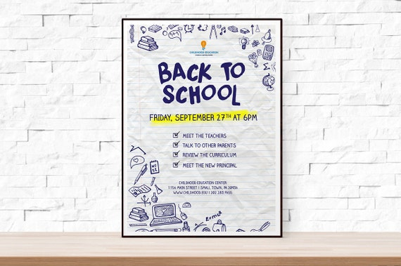 Diy Printable Back To School Or Open House Event Flyer Template In