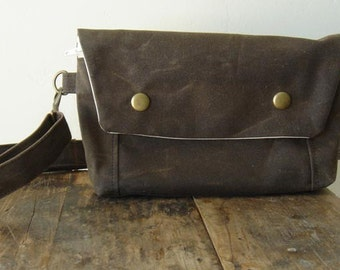Large Convertible Hip Pouch - Waxed Canvas in Chocolate Brown