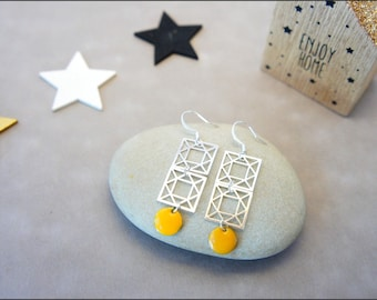 Silver pendants earrings square filigrees and sequins