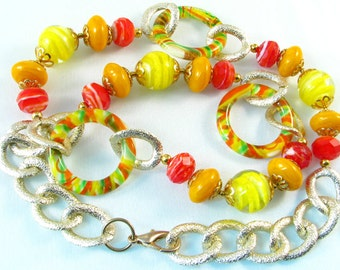 Yellow, Orange, Red Glass lampwork bead necklace, 25 inches, with gold color chain, bright cheerful happy colors