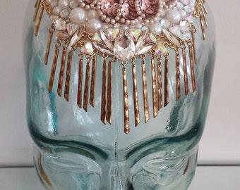 Pearl and Jewel Fascinator,  Beaded headpiece, Rhinestone applique headdress, Epaulet, Epaulette, Jeweled hat, Mini hat, Millinery, 20's era