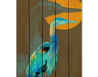Great Blue Heron on Cedar, Colorful Watercolor Bird, Indoor and Outdoor Decor, Wall Decor, Wall Hanging Art. (DCGB1624/2836)