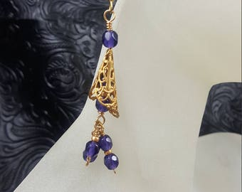 Purple and Gold Cone Earrings