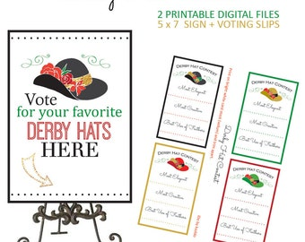Kentucky Derby Game - Kentucky Derby Party - Kentucky Derby Hats - Kentucky - Derby - Derby Party - Hat Contest - Printable - Party Game