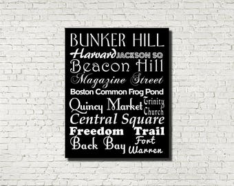 Boston Neighborhoods Subway Sign - Typography Print - Modern Home Decor - Art Poster Wall Art Aged Vintage Finish