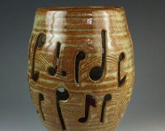 Tan Stoneware Music Notes Candle Lantern