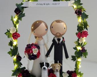 custom wedding cake topper  - standard arch & twinkle lights