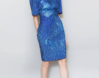 Vintage 1980's Stunning Bright Blue Sequin Mini Dress.